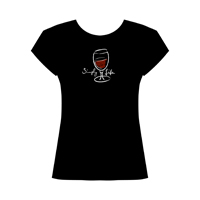 Simply Life • Red Wine  Women's Scoop Neck Cap Sleeve Tee on black