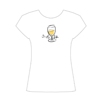 Simply Life • White Wine  Women's Scoop Neck Cap Sleeve Tee on white